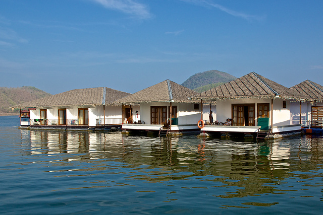 The floating rooms of Lake Heaven Resort on Srinakarin lake in Kanchanaburi province, Thailand