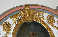 Detail of mid c19th ceiling, Former Drawing Room, Kimbolton Castle, Cambridgeshire