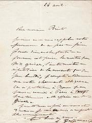 Letter by Célestine Galli-Marié to Mr. Briet