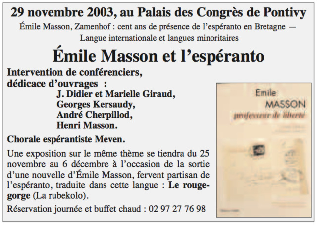 Georges Kersaudy, Pontivy, 2003, Colloque Emile-Masson