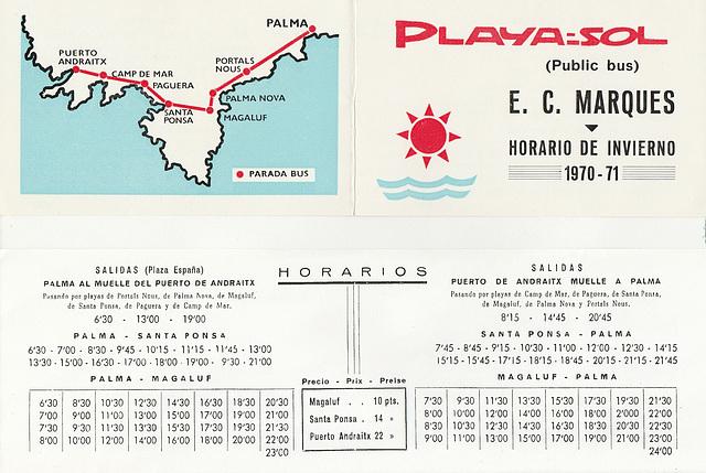 Empresa Catalina Marques bus timetable - Winter 1970-1971