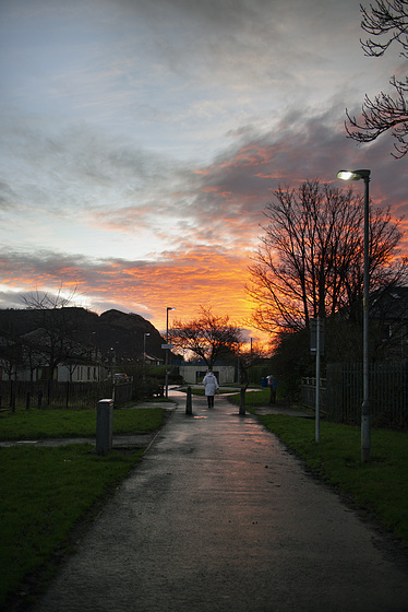 Sunrise over the site of the Lanarkshire and Dumbartonshire Railway