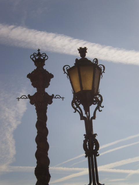 Lamp post and pillory.