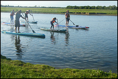 here come the paddle boarders