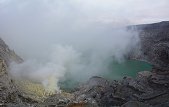 Indonesia, Java, Crater of Ijen Volcano with Sulfur Lake