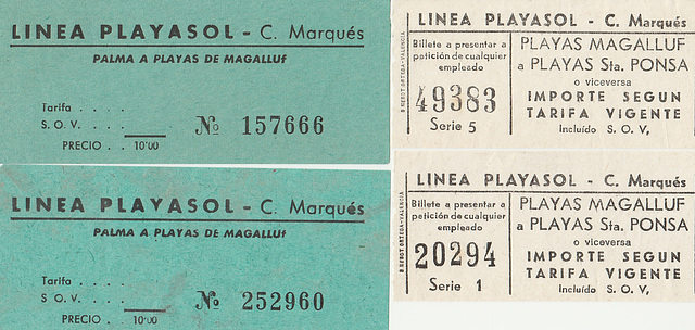 Empresa Catalina Marques bus tickets 1970 and 2000