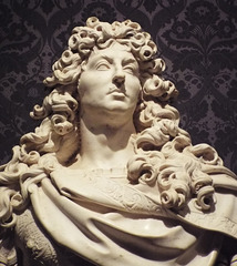 Detail of a Bust of King Louis XIV by Coysevox in the Metropolitan Museum of Art, May 2018