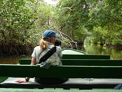 Friend on boat at Caroni Swamp, Trinidad
