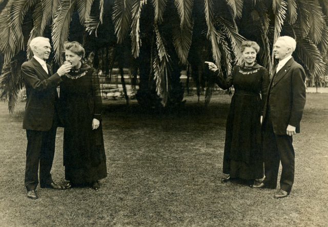 Mr. and Mrs. Emerson Clover Watching Themselves, Whittier, California, March 31, 1921