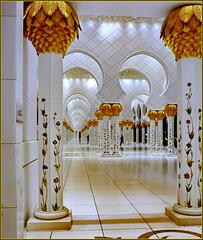 AbuDhabi : la galleria esterna della moskea con le sue colonne fiorate e una luce travolgente !