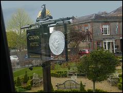 Crown Hotel sign at Blandford