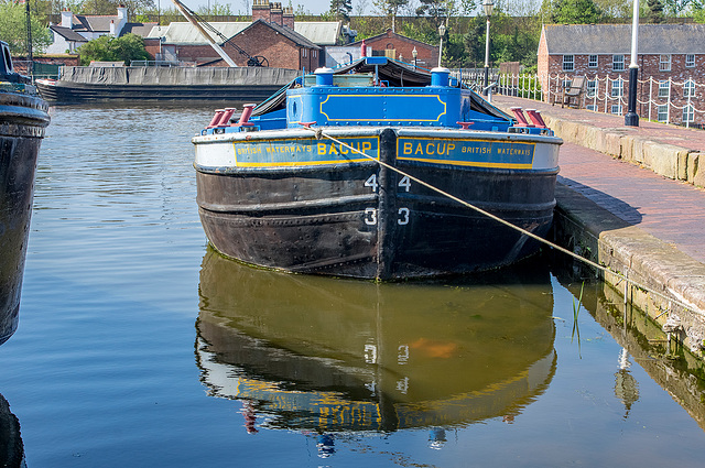 A wide boat at the Ellesmere Port boat museum