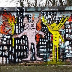 Graffiti on a brick wall in St Job, Uccle.