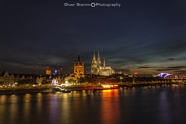 The view of Cologne at sunset