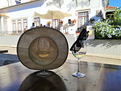 It's perfectly plausible for a glass of white wine to wear the hat and the sunglasses of the drinker
