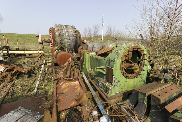 Recovered Westthorpe Colliery winding engine components