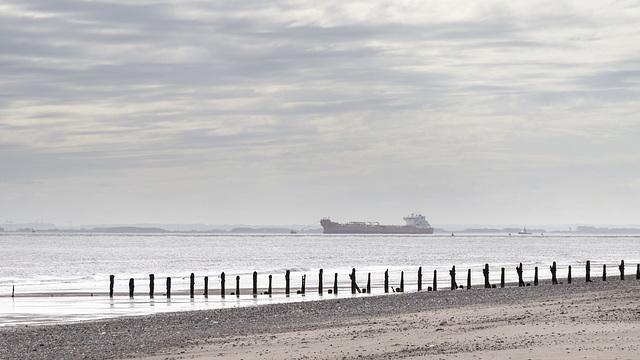 Spurn groyne and large vessel