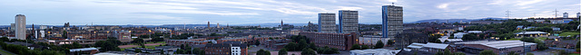 High resolution pan of Glasgow westwards from the iconic Speirs Wharf Building on the canal