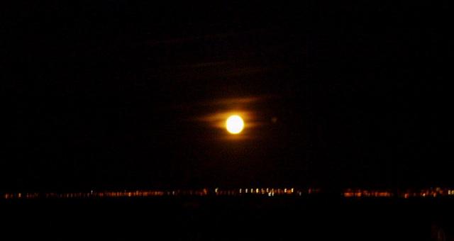Super-moon over Tagus estuary.