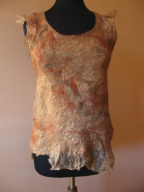 nuno felted vest with hand dyed silk: front part