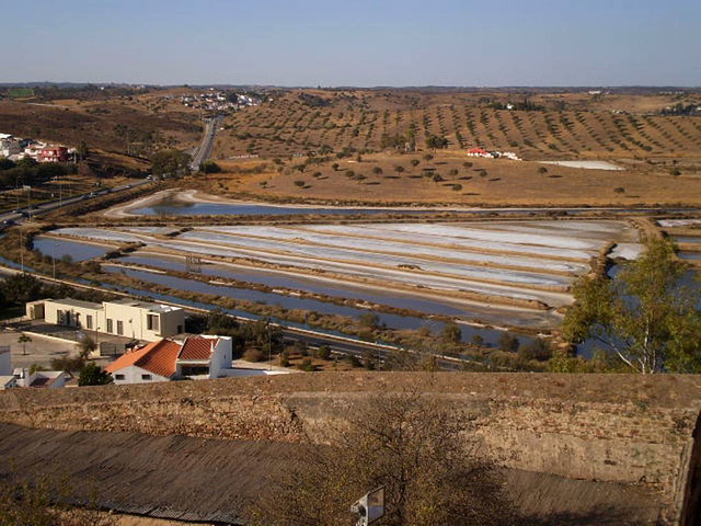 Salt pits and countryside.