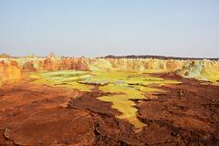 Ethiopia, Danakil Depression, Sulfur-Andesite Lava Flows in the Crater of Dallol Volcano
