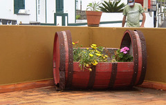 Flowerbed out of barrel.