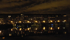 Boston's waterfront by night