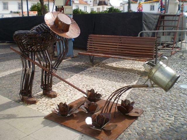 Sculpture of farmer.