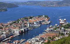 Utsikt fra Fløyfjellet til Bergen