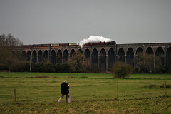Gentleman leaning on a fence to photograph Welland Viaduct