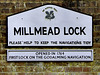 Sign at Millmead Lock - Wey Navigation Guildford