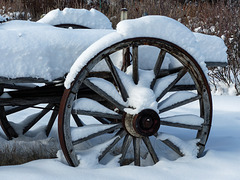 Old wagon in winter
