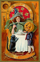 Pumpkinhead Boy with Witch and Black Cat