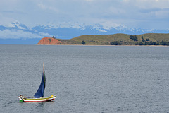 Bolivia, Titicaca Lake, The Island of the Moon and Bolivian Cordillera on the Horizon