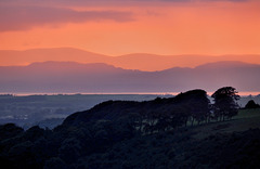Galloway Hills (Scotland) over the Solway Firth at sunset.