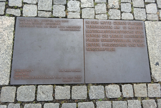 Memorial plaque to May 10, 1933 Nazi Book Burning in Bebelplatz, Berlin.