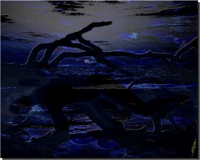 Un voyage en solitaire dans un songe d'été...Un rai funambule, échappé des brumes pâles Ondule sur le lointain, son rêve en escale Au-dessus de mes émotions naufragées...
