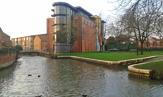 The river Slea and The national center for craft and design ( The Hub ) ~ Sleaford ~ Lincolnshire