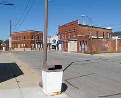 Municipal garbage can of downtown Sebewaing, Michigan.