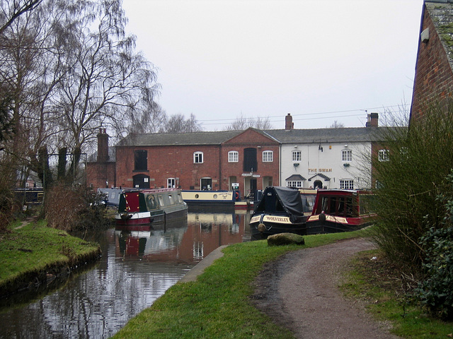The Coventry Canal joining the Trent and Mersey Canal at Fradley Junction
