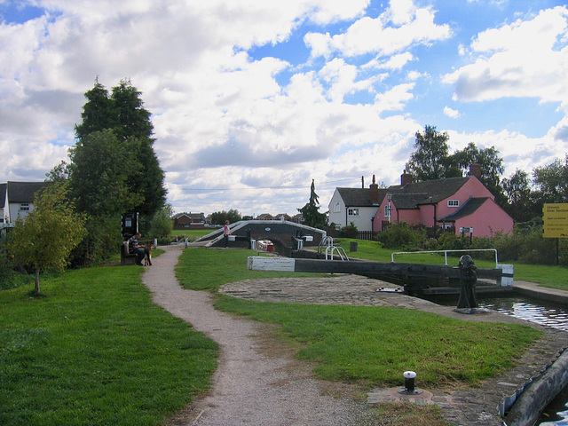 Bagnall Lock and Bridge 49 on the Trent and Mersey Canal at Alrewas