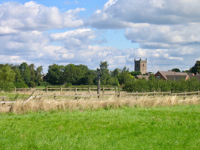 The Church of All Saints at Alrewas from Trent and Mersey Canal