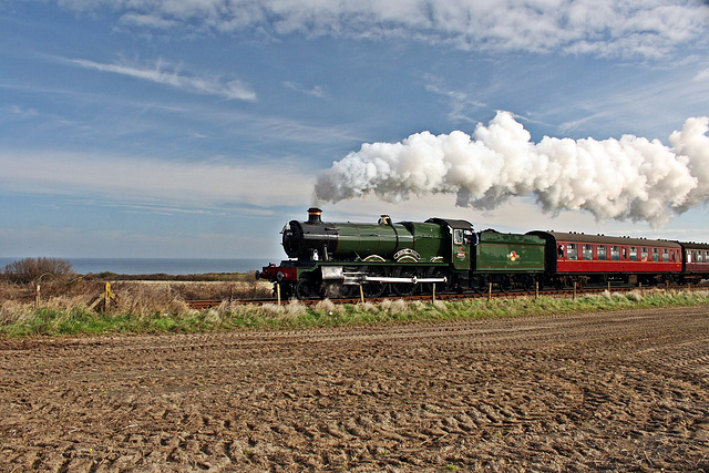 """GWR 4900 """"Hall""""  Class no 4936 """"Kinlet Hall"""" steams along the Norfolk coastline"""