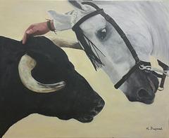 Peinture du taureau, du cheval et la main de l'homme  60 X 73