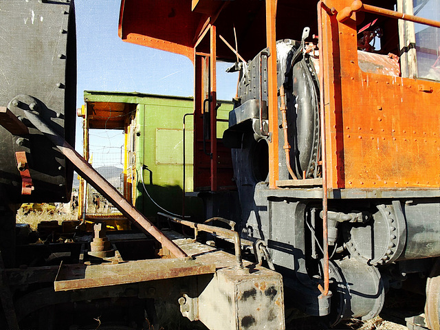 Vintage green and orange