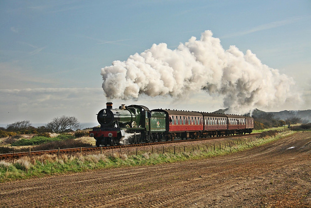 """GWR 4900 """"Hall"""" Class no  4936 """"Kinlet Hall"""" heads away from  Sheringham"""