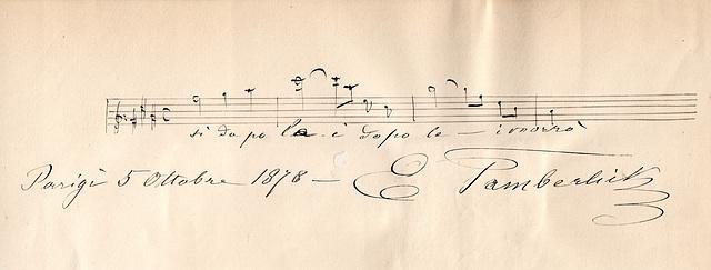 L'ut dièse de Tamberlick and autograph