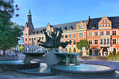 Erfurt, Anger mit Brunnen und Hauptpostamt