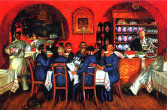 Restaurant Russe, par Boris Kustodiev (on EXPLORE)